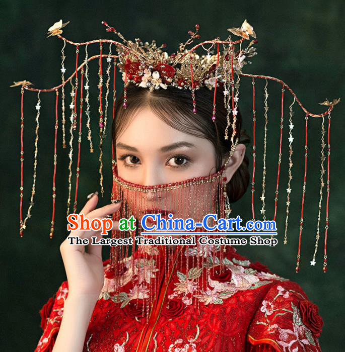 Chinese Ancient Wedding Hair Accessories Red Tassel Phoenix Coronet Bride Hairpins Headwear for Women