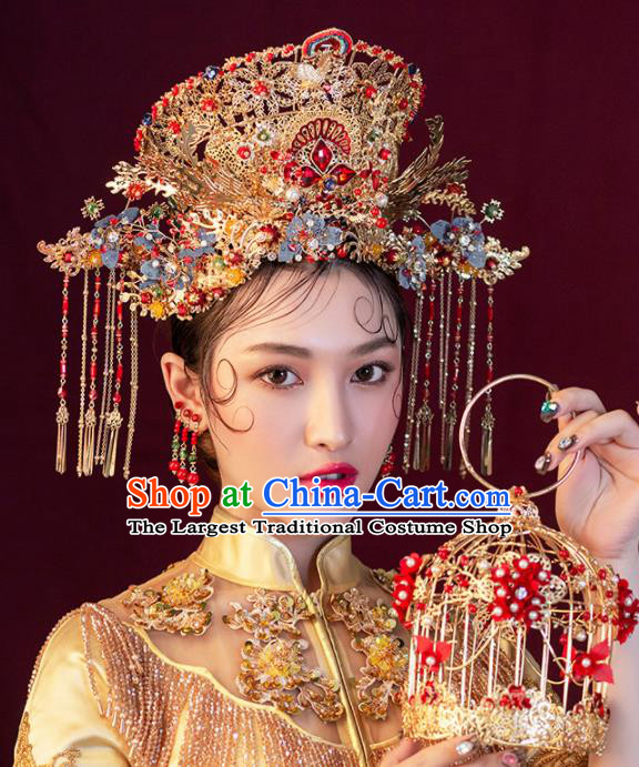Chinese Ancient Wedding Hair Accessories Luxury Phoenix Coronet Bride Hairpins Headwear for Women