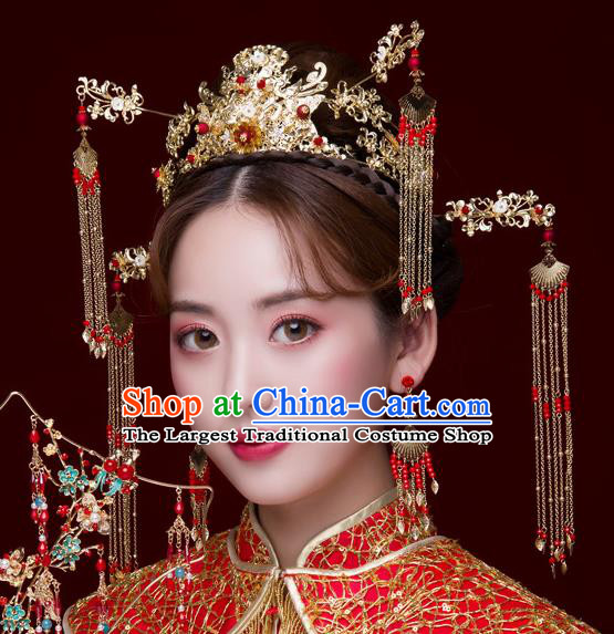 Chinese Ancient Wedding Hair Accessories Luxury Tassel Phoenix Coronet Bride Hairpins Headwear for Women