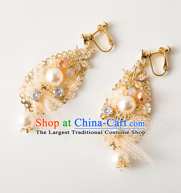 Handmade Wedding Ear Accessories Top Grade Bride Hanfu Pearls Golden Earrings for Women