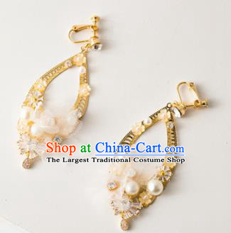 Handmade Wedding Ear Accessories Top Grade Bride Hanfu Golden Earrings for Women