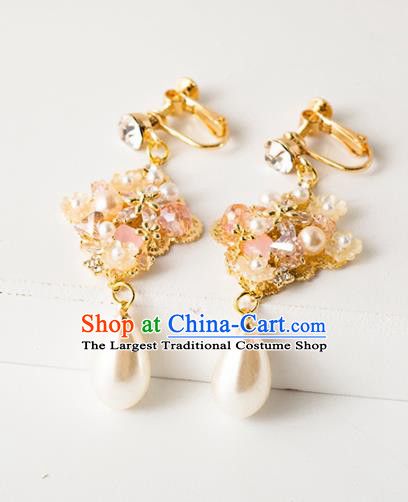 Handmade Wedding Ear Accessories Top Grade Bride Hanfu Pearls Tassel Earrings for Women