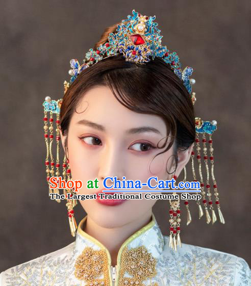 Chinese Ancient Wedding Hair Accessories Luxury Cloisonne Phoenix Coronet Bride Hairpins Headwear for Women