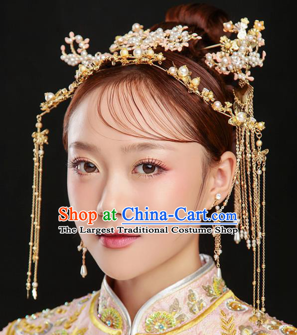 Chinese Ancient Bride Wedding Hair Accessories Hair Clasp Tassel Hairpins Headwear for Women
