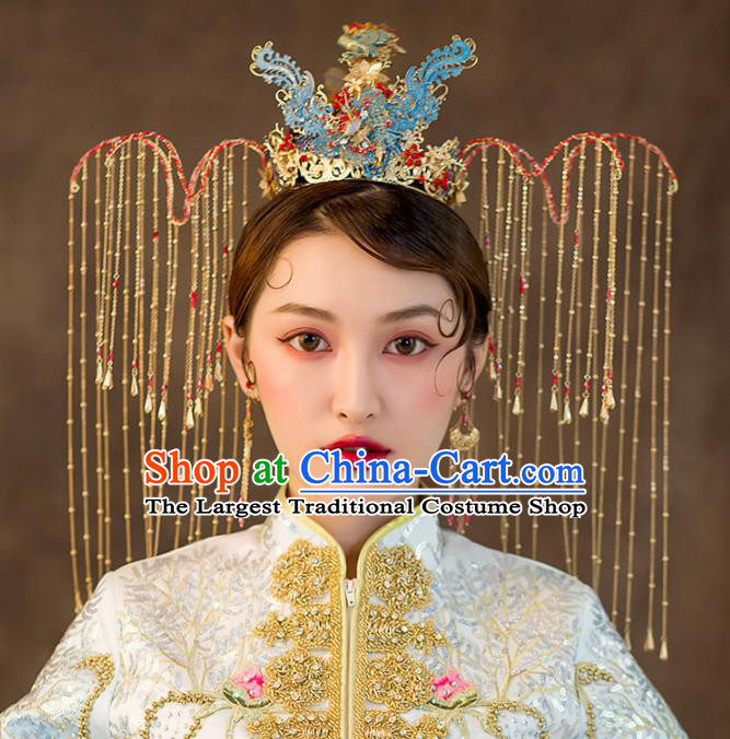 Chinese Ancient Queen Wedding Hair Accessories Luxury Cloisonne Phoenix Coronet Bride Hairpins Headwear for Women