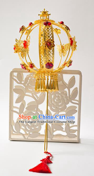 Chinese Ancient Wedding Accessories Bride Handmade Golden Palace Lantern for Women