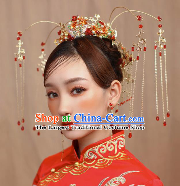 Chinese Ancient Bride Cloisonne Phoenix Coronet Wedding Hair Accessories Hairpins Headwear for Women