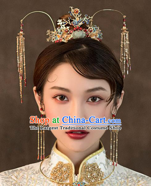 Chinese Ancient Bride Blueing Phoenix Coronet Wedding Hair Accessories Hairpins Headwear for Women