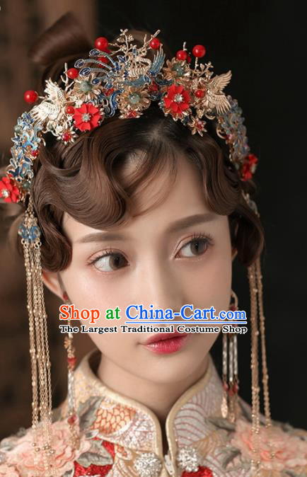 Chinese Ancient Wedding Hair Accessories Cloisonne Phoenix Coronet Bride Hairpins Headwear for Women