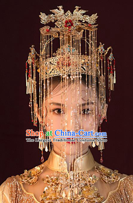 Chinese Ancient Wedding Hair Accessories Luxury Golden Phoenix Coronet Bride Hairpins Headwear for Women