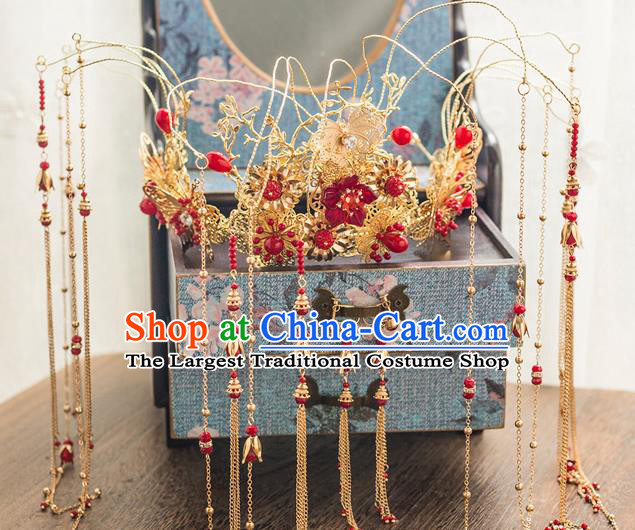 Chinese Ancient Bride Wedding Hair Accessories Luxury Phoenix Coronet Hairpins Headwear for Women
