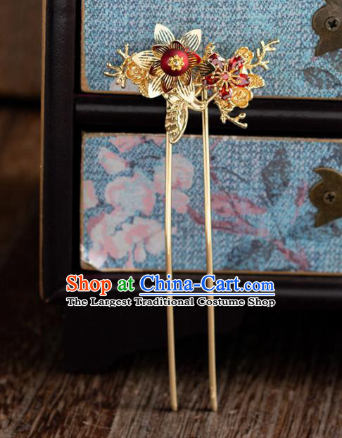 Chinese Ancient Bride Wedding Hair Accessories Golden Hanfu Hairpins Headwear for Women