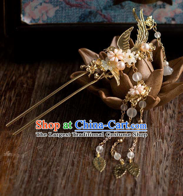 Chinese Ancient Bride Wedding Hair Accessories Tassel Step Shake Golden Hanfu Hairpins Headwear for Women