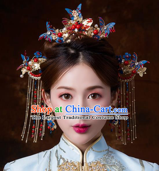 Chinese Ancient Wedding Blue Butterfly Hair Accessories Bride Tassel Hairpins Headwear for Women