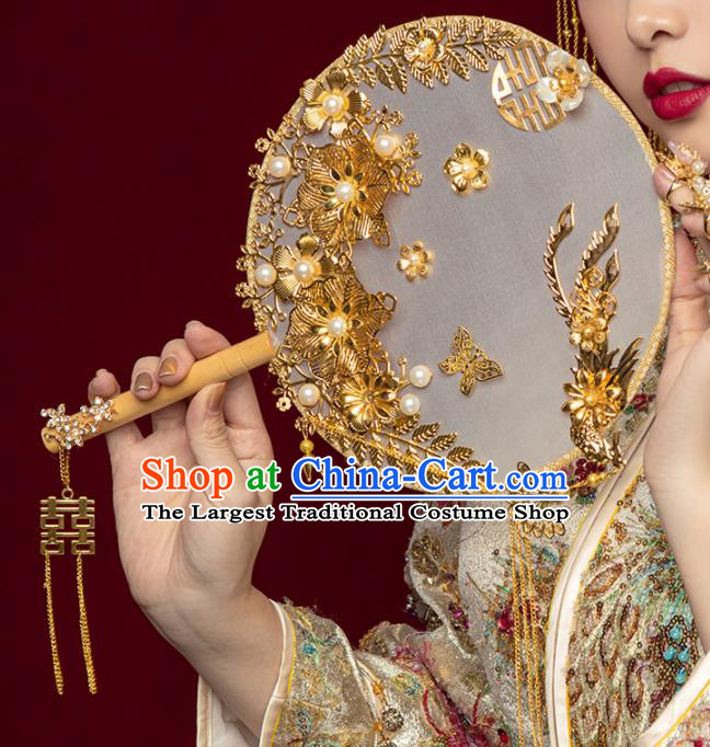 Chinese Ancient Wedding Accessories Bride Palace Fans Handmade Golden Flowers Round Fan for Women
