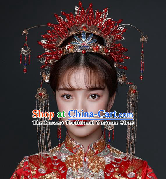 Chinese Ancient Wedding Hair Accessories Bride Red Beads Phoenix Coronet Tassel Hairpins Headwear for Women