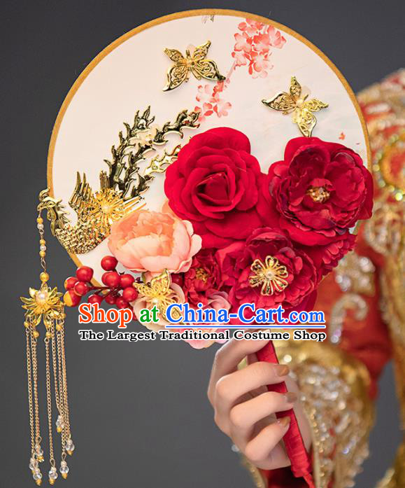 Chinese Ancient Wedding Accessories Bride Palace Fans Red Peony Round Fan for Women