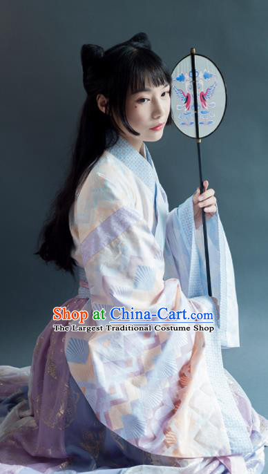 Chinese Traditional Jin Dynasty Palace Lady Historical Costumes Ancient Royal Princess Hanfu Dress for Women