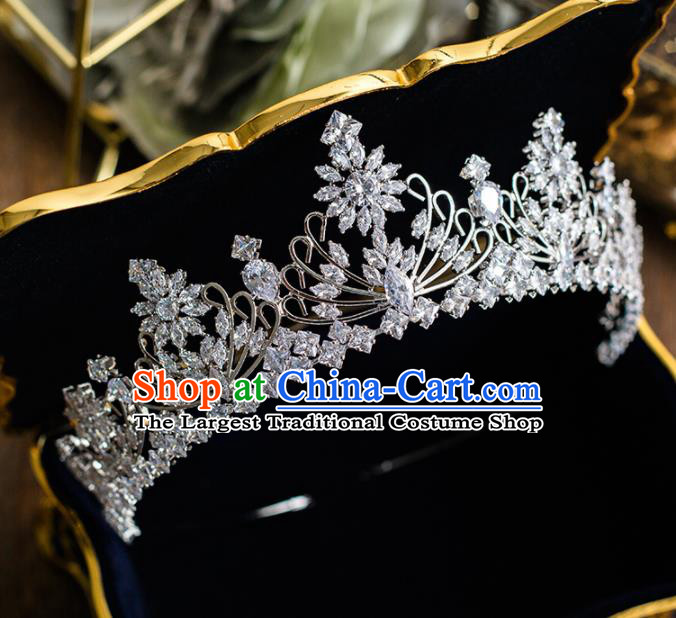 Top Grade Handmade Wedding Bride Hair Accessories Princess Zircon Royal Crown Headwear for Women