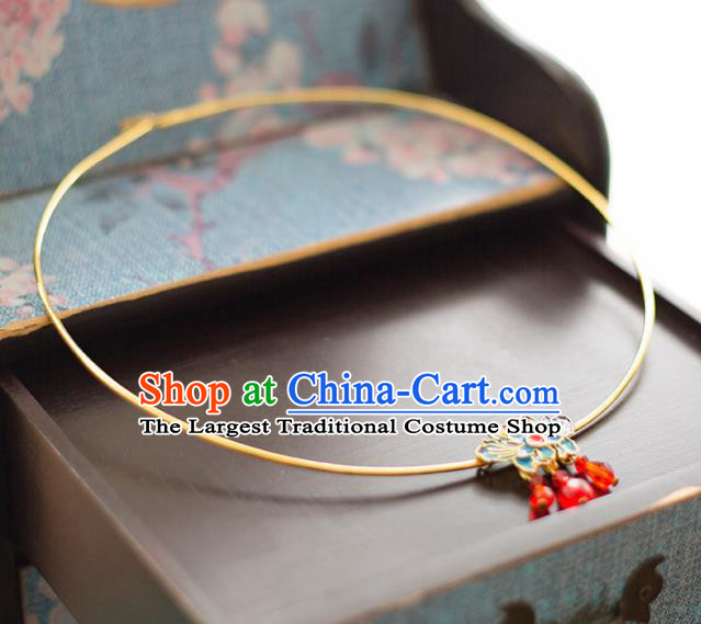 Chinese Ancient Wedding Accessories Bride Handmade Palace Blueing Lotus Necklace for Women