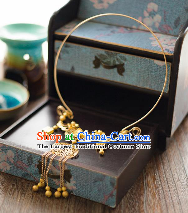 Chinese Ancient Wedding Accessories Bride Handmade Golden Palace Necklace for Women