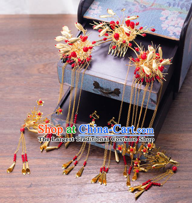 Chinese Ancient Palace Bride Hair Combs Wedding Hair Accessories Tassel Hairpins Headwear for Women