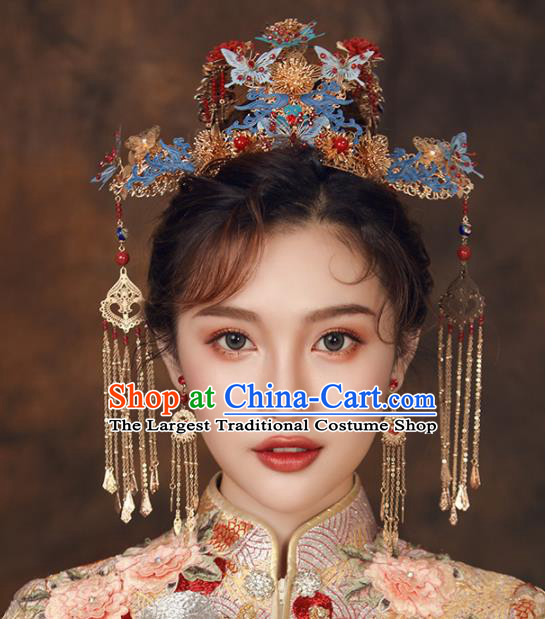 Chinese Ancient Palace Bride Hair Accessories Wedding Blueing Butterfly Phoenix Coronet Hairpins Headwear for Women