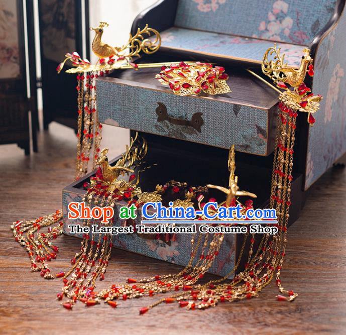 Chinese Ancient Palace Bride Hair Accessories Tassel Hair Clips Phoenix Hairpins Headwear for Women