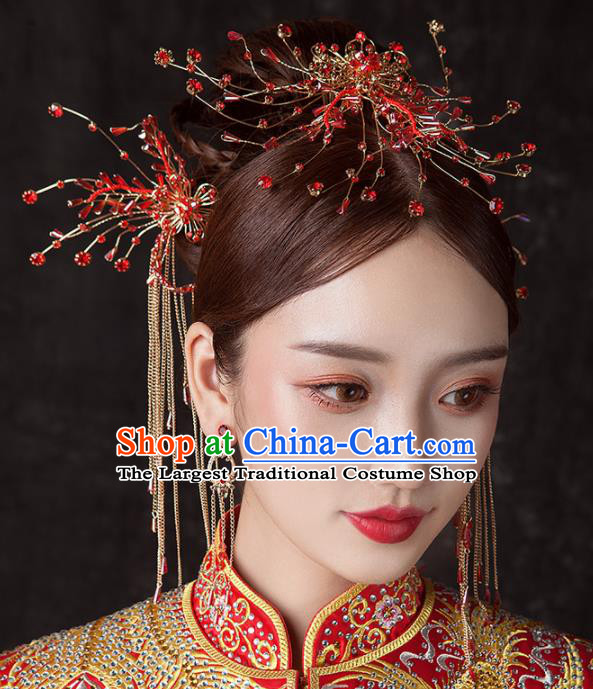 Chinese Ancient Palace Bride Hair Accessories Red Beads Hair Comb Hairpins Headwear for Women