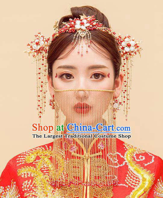 Chinese Ancient Palace Hair Accessories Bride Hanfu Hair Comb Hairpins Headwear for Women