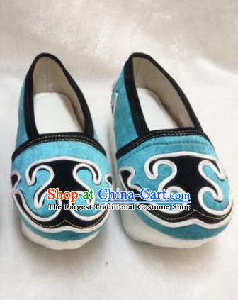 Chinese Traditional Shoes Ancient Beijing Opera Niche Shoes Hanfu Blue Shoes for Men