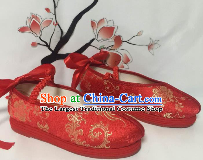 Traditional Chinese Shoes Wedding Shoes Ancient Princess Shoes Red Blood Stained Shoes for Women