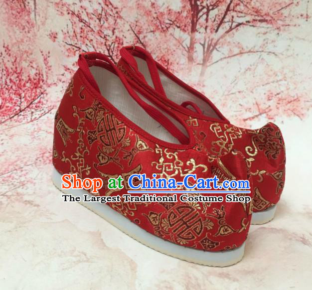 Traditional Chinese Shoes Red Wedding Shoes Ancient Princess Shoes Blood Stained Shoes for Women