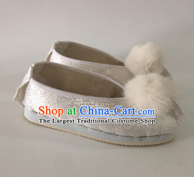 Traditional Chinese Shoes Ancient Princess White Shoes Hanfu Shoes Opera Shoes for Women