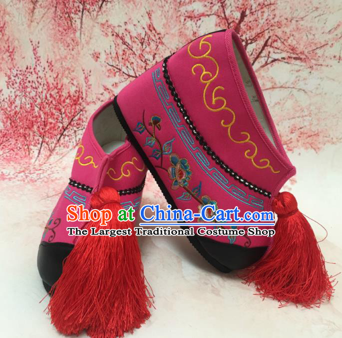 Traditional Chinese Shoes Ancient Princess Rosy Shoes Beijing Opera Boots for Women
