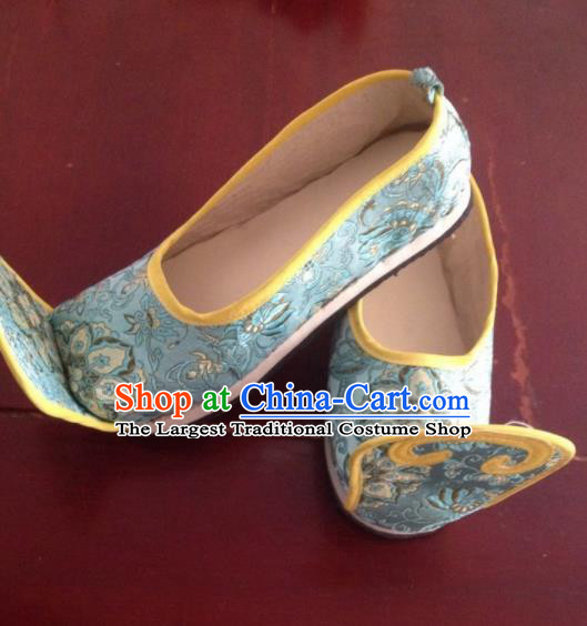 Traditional Chinese Wedding Shoes Ancient Princess Shoes Blue Embroidered Shoes for Women