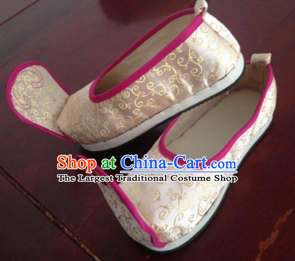 Traditional Chinese Wedding Shoes Ancient Princess Shoes Beige Embroidered Shoes for Women
