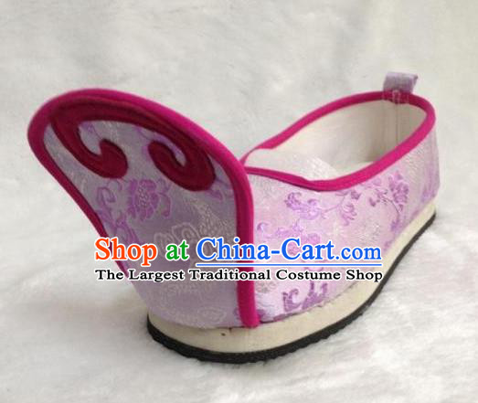 Traditional Chinese Wedding Shoes Ancient Princess Shoes Purple Embroidered Shoes for Women