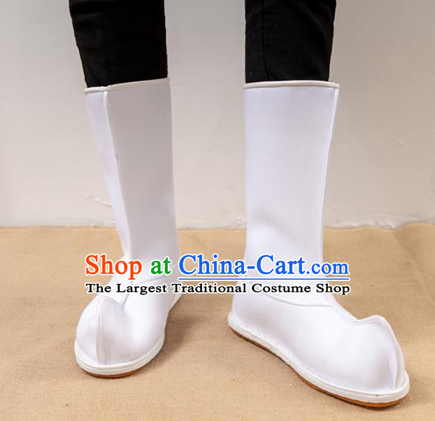 Chinese Traditional Shoes Ancient Swordsman White Boots Opera Shoes Hanfu Boots for Men
