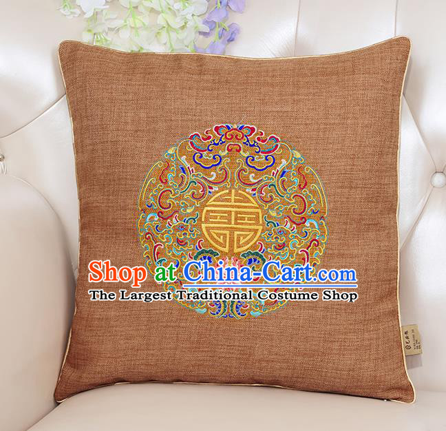Chinese Classical Household Ornament Traditional Handmade Embroidered Earthy Yellow Linen Cushion