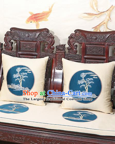 Chinese Classical Household Ornament Traditional Handmade White Brocade Cushion Back Cushion
