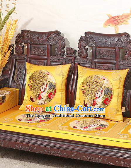 Chinese Classical Household Ornament Traditional Handmade Yellow Brocade Cushion Back Cushion