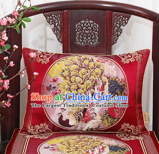 Chinese Classical Household Ornament Traditional Handmade Red Brocade Peacock Cushion Back Cushion