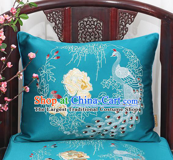Chinese Classical Household Ornament Traditional Handmade Blue Brocade Peacock Cushion Back Cushion