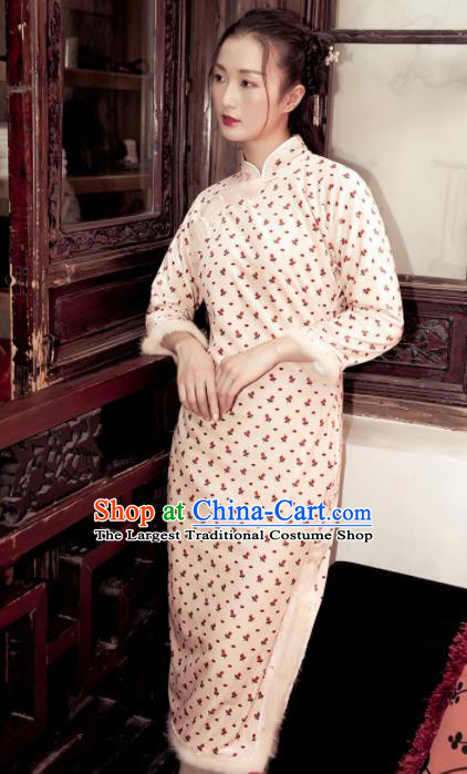 Chinese Traditional Costumes National Qipao Dress Quilted Cheongsam for Women