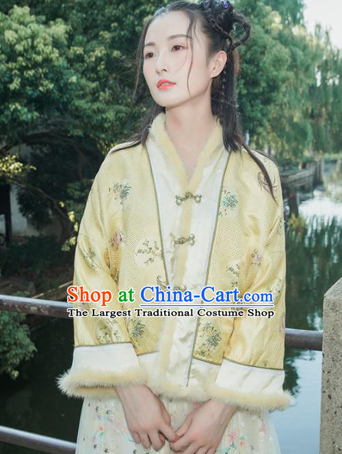 Chinese Traditional Costumes National Tang Suit Yellow Cotton Wadded Jacket for Women