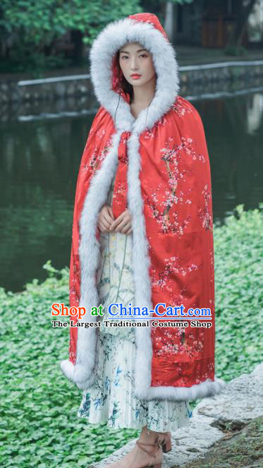 Chinese Traditional Costumes National Tang Suit Red Cotton Wadded Cloak for Women