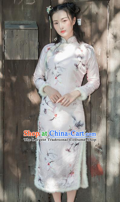 Chinese Traditional Costumes National Qipao Dress Mink Wool Cheongsam for Women