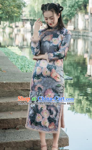 Chinese Traditional Costumes National Qipao Dress Mink Wool Navy Cheongsam for Women