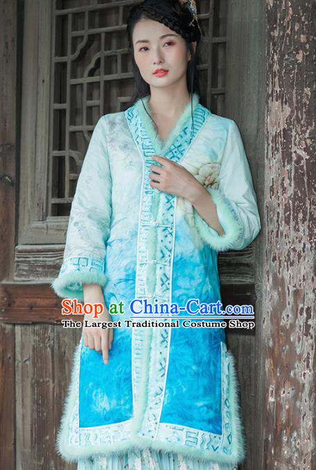 Chinese Traditional Costumes National Upper Outer Garment Blue Silk Qipao Coat for Women